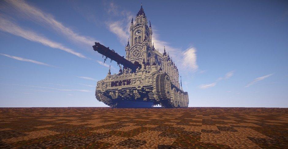 Танк с готическим храмом за место башни