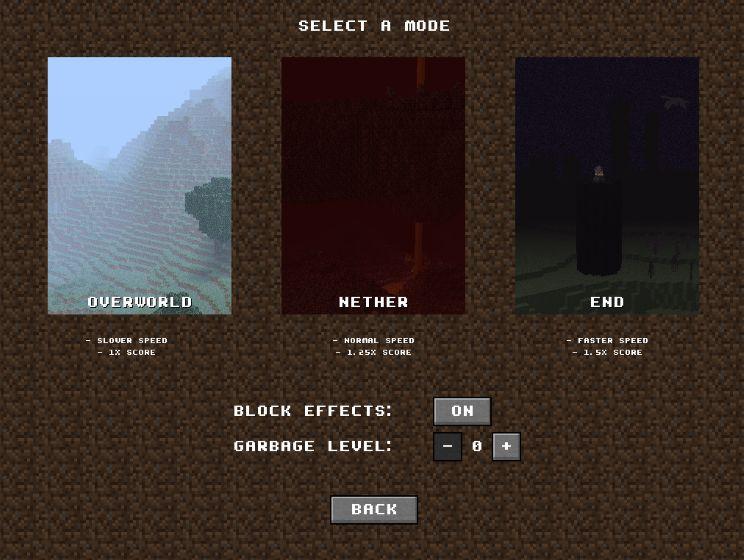 Tetrimine - тетрис в виде Minecraft