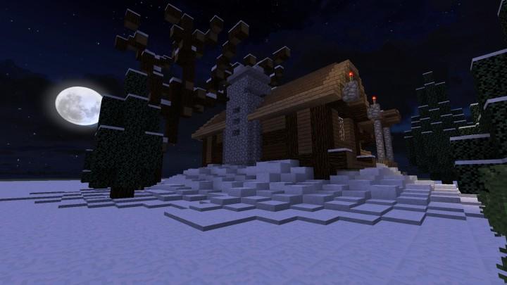 Уютный зимний домик в Minecraft